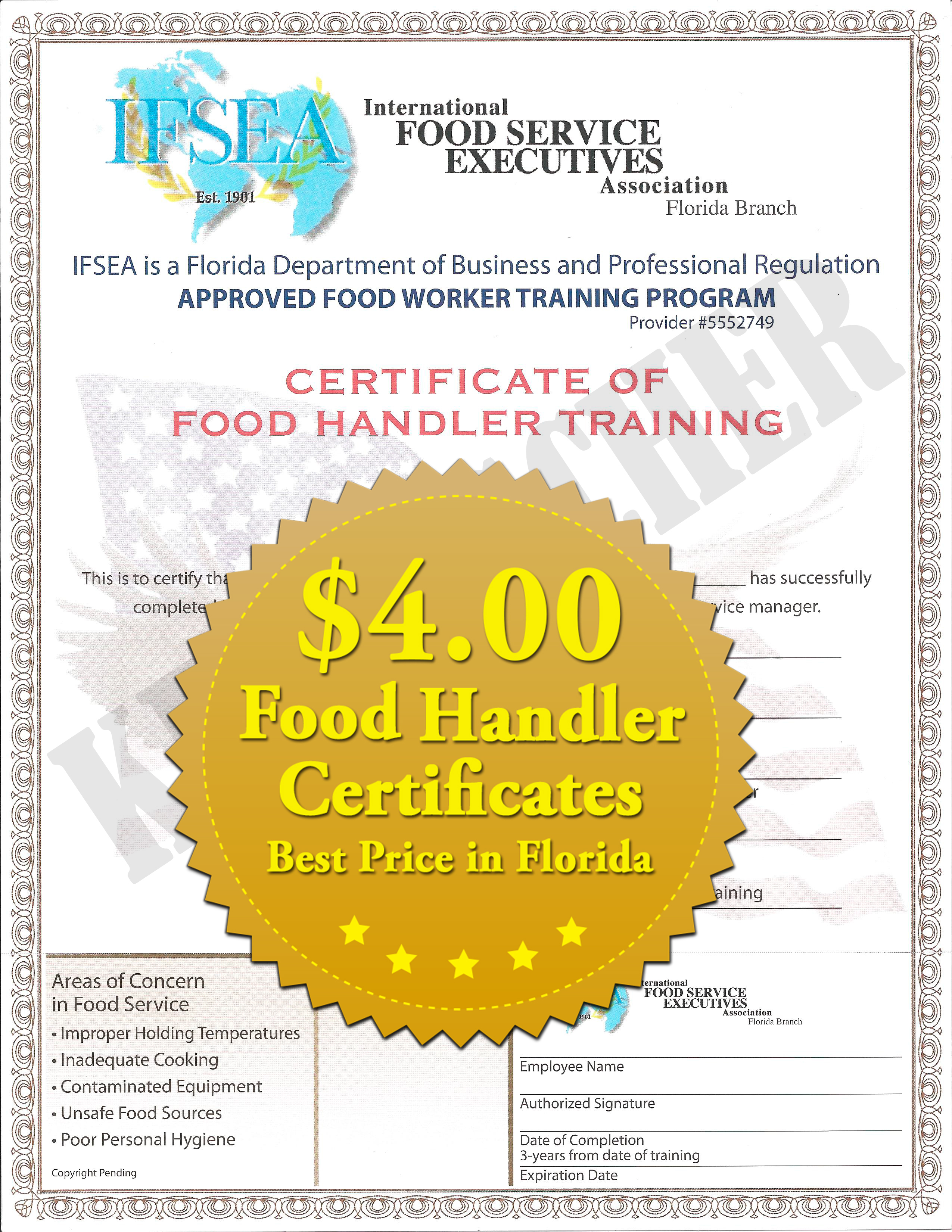 Florida Food Handler Certificate